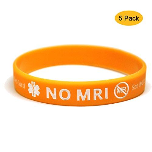 5-Pack NO MRI Designer Silicone Medical Awareness Alert ID Bracelets Wristband with Emergency ID Card 8 inch - Bracelets Designer Medical Alert