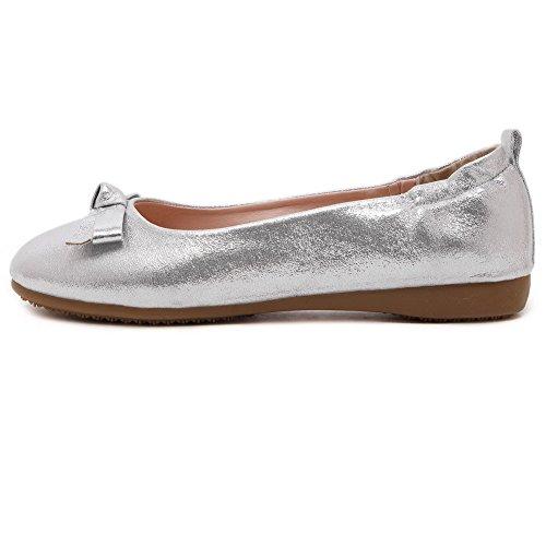 Damen Pu Leder Ziehen Auf No-Heel Flache Schuhe, Silber, 36 VogueZone009