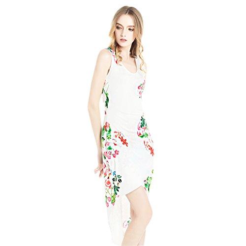 レディース ヴィンテージ ドレス 不規則な裾 白い花柄 プリント ボホ ビーチ Zumine Womens Irregular Hem Print Dress Casual Dress