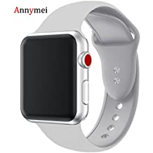 For Apple Watch Band, Annymei Durable Soft Silicone Replacement iWatch Band Sport Style Wrist Strap for Apple Watch Band 38mm Series 3 Series 2 Series 1 Sport, Edition (Light grey, 38mm S/M)