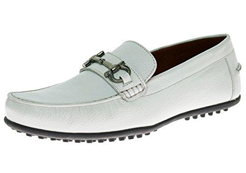 Natazzi Chaussure En Cuir Pour Homme Kenzo Enfilable Mocassin Mocassin Blanc