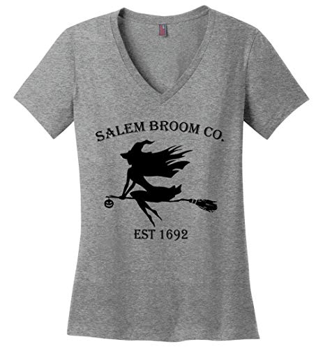 Halloween Salem Broom co est 1692 Gift Idea Ladies V-Neck