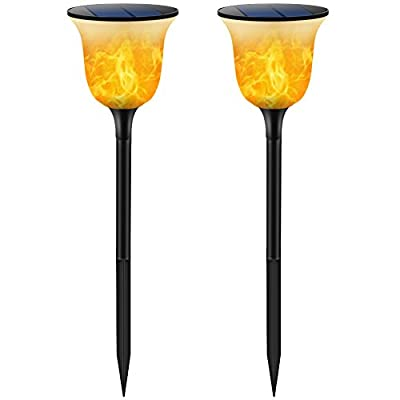TomCare Solar Lights Solar Torches Lights Waterproof Flickering Flames Torches Lights Outdoor Solar Powered Path Lights Dancing Flame Lighting Dusk to Dawn Auto On/Off for Garden Patio Yard(2) - Gorgeous Dancing Flames - Special flickering flames design, appears to be realistic flames; warm yellow colored light with new body design--classical white and black cover, creating a charming ambiance. Weatherproof & Durable - Made of durable and weatherproof material, withstanding all weather conditions, no worries about raining, snowing and frosting. Suitable for outdoor lighting, which can be installed in your garden, pathway, driveway, backyard, etc. Easy to Install and Use - No wires needed, simply install them into the ground, no need to spend too much time on installation. No additional electrical tools needed, it is solar-powered, just put it under the sunlight to absorb the solar energy which will be transferred into electricity. - patio, outdoor-lights, outdoor-decor - 41f09nTxhUL. SS400  -