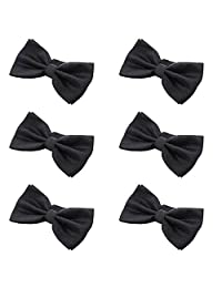 Mens Boys Formal Bow Ties - 6 Pack of Solid Color Adjustable Pre Tied Bowties (Black)