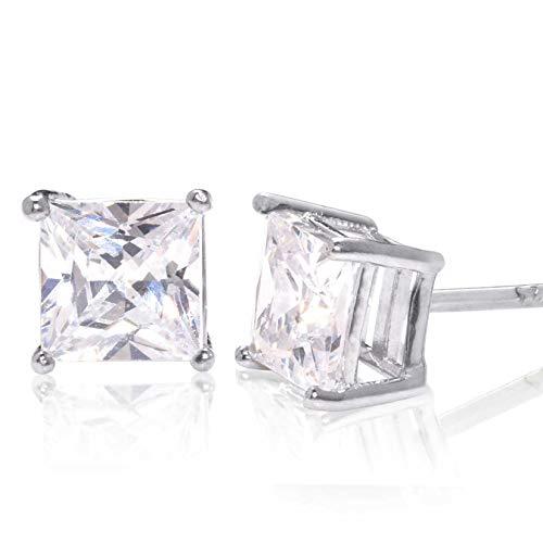 (Square Princess Cut 7mm white Cubic Zirconia .925 Sterling Silver Basket Setting Unisex Stud)