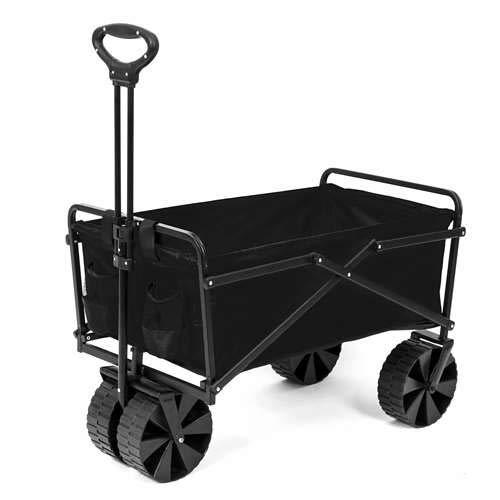 Seina Steel Frame Folding Utility Beach Wagon Outdoor Cart, Black (Open Box)