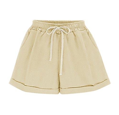 Estivi Unique Elegante Solido Pantaloni Chic Sciolto Khaki Pantaloncini Corta Woman Forti Casuali Shorts Taglie Donna Coulisse BoBoLily EXwqxHftw