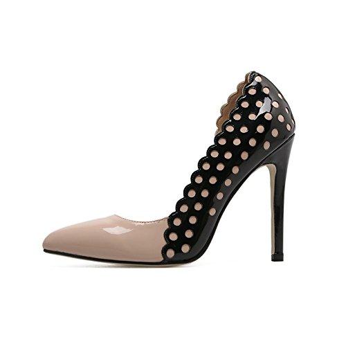 YMFIE Dama de estilo europeo con sexy puntilla Puntilla punta brillante laca de cuero zapatos de tacón ahuecado zapatos zapatos de trabajo.36,a la UE 36 EU
