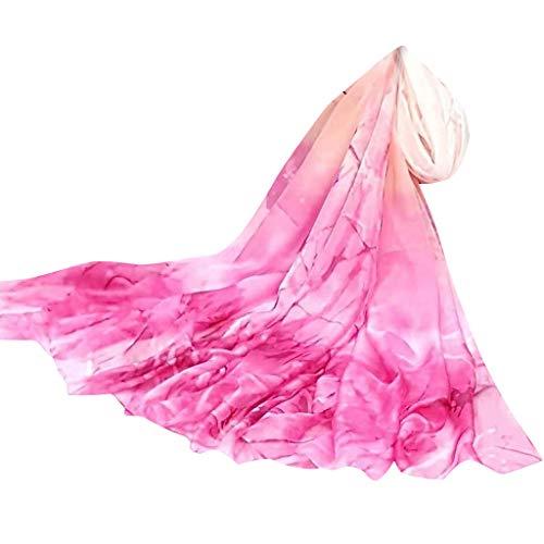 Adeshop Féminine Rose Et Plage Mousseline Élégant Mode Vif14 Léger Soie Protection Écharpe Imprimer De Femmes Chic Printemps Châle Doux Foulards Été Mince Uv tqCwq