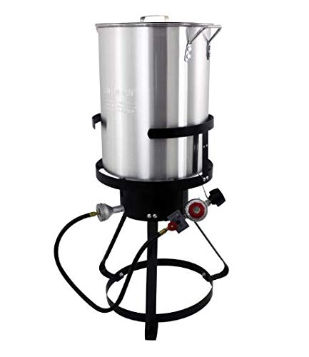 30 Qt Turkey Fryer Pack - Outdoor Aluminum Cooker Kit - Perfect Camping, Tailgating, Backyard Cooking Turkey Frying Season – Great Backyard Chefs, Entertaining & Large-Scale Family Meals