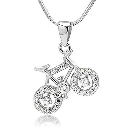 Suvani Jewelry Rhodium Plated 925 Sterling Silver CZ Cubic Zirconia Bicycle Pendant Necklace, 18 inches