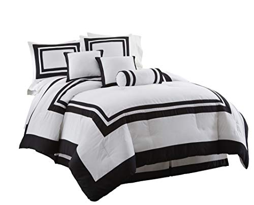 Full Ensemble Bed (Chezmoi Collection 7 Piece Caprice Square Pattern Hotel Comforter Set, Full/Double, White/Black)