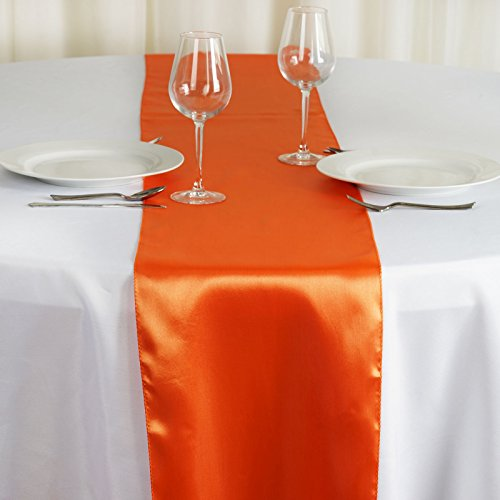 BalsaCircle 10 pcs 12 x 108-Inch Orange Satin Table Top Runners - Wedding Party Event Reception Occasions Linens Decorations -