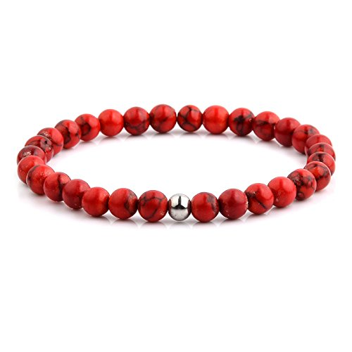 West Coast Jewelry Polished Stainless Steel Red Dyed Turquoise Stone Beaded Stretch Bracelet (6.5mm Wide)