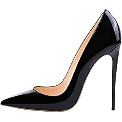 Lovirs Womens Black Pointed Toe High Heel Slip On Stiletto Pumps Wedding Party Basic Shoes 9 M US