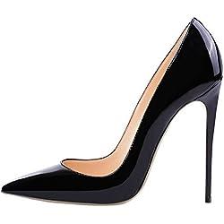 Lovirs Womens Black Pointed Toe High Heel Slip On Stiletto Pumps Wedding Party Basic Shoes 9 M US