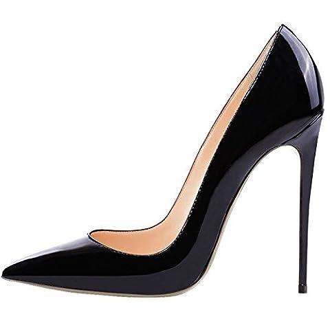 Lovirs Womens Black Pointed Toe High Heel Slip On Stiletto Pumps Wedding Party Basic Shoes 9 M US - Stiletto Heel Classic Pumps