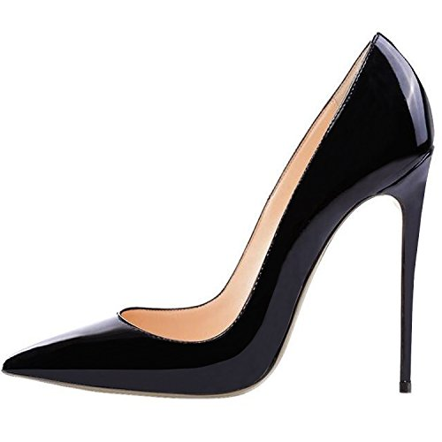Lovirs Womens Black Pointed Toe High Heel Slip On Stiletto Pumps Wedding Party Basic Shoes 7 M US Black Patent Pointed Toe Pump