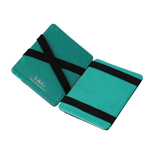 YCM020302 Black Turquoise Leather Magic Wallet with Card Holders Online Shopping For Work-Utility With Gift Box By Y&G