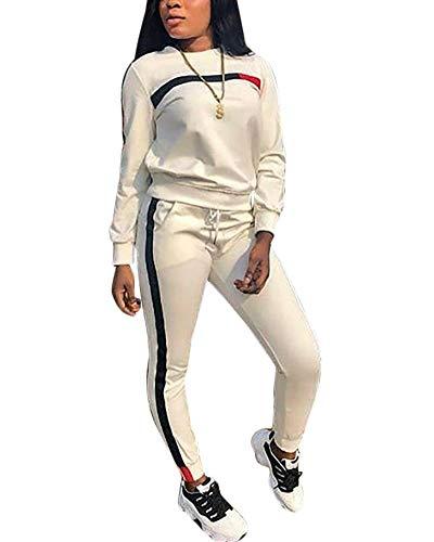 tfits - Stripe Patchwork Sweatsuits Long Sleeve Pullover Sweatshirt Skinny Long Pants Tracksuit Set White XXX-Large ()
