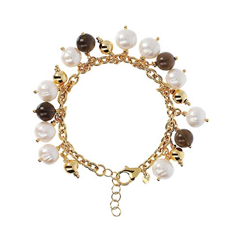 Etrusca Gioielli Women's Rolo Bracelet With Cultured Pearls and Smoky Quartz Beads 18k Gold-Plated Bronze Made In Italy ()