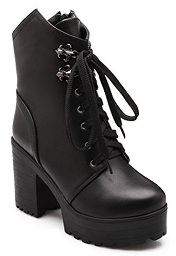 IDIFU Womens Comfy Platform High Heels Chunky Ankle Martin Boots Combat Booties Lace Up Black p86hQeT