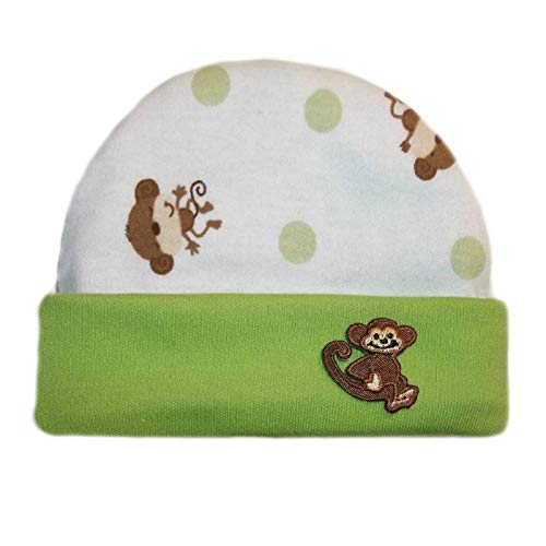 Jacqui's Baby Boys' Playful Monkey Capped Hat, Micro Preemie White