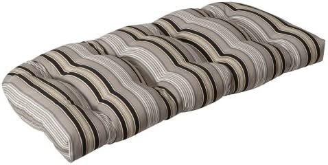Pillow Perfect Outdoor Indoor Getaway Stripe Onyx Tufted Loveseat Cushion, 44 x 19 , Black