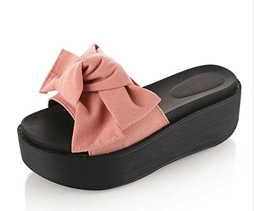 Slip Woman Big Flip Flops Bowtie Beach Slippers Thytas Resistant Sandals Summer Pink 786AfqZwx
