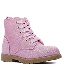 Girl's Glitter Boot Lace Up Low Heel Winter Shoes Toddler/Little Kids
