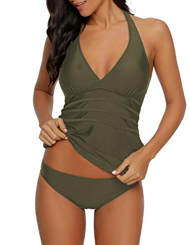 ACKKIA Women's Army Green Halter Two Pieces Swimsuit V Neck Panel Open Back Tankini Set Bathing Suit Swimwear XXL(US - Halter Green