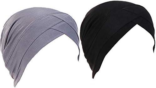 Yuccer 2 Piezas Gorras Oncologicas Mujer Turbantes Oncologicos Gorro para Dormir Quimioterapia para Pérdida de Cabello Cáncer Pacientes (Negro + Gris): Amazon.es: Ropa y accesorios