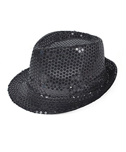 Buckletown Sequined Fedora Hat (black) -
