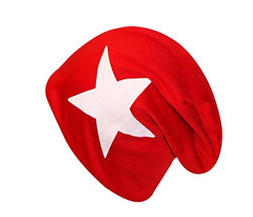 easy4fashion - Gorro de punto - para hombre Rot mit weißem Stern