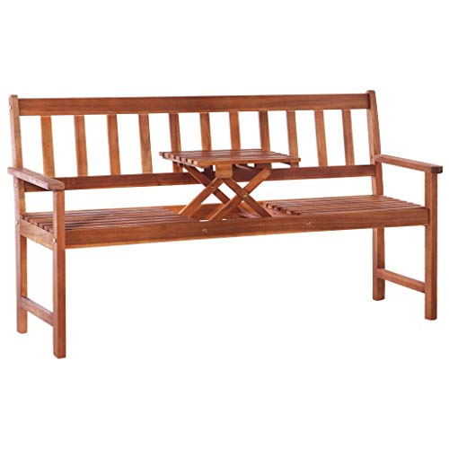 vidaXL Solid Acacia Wood Garden Bench with Pop-up Table Brown Outdoor Seat