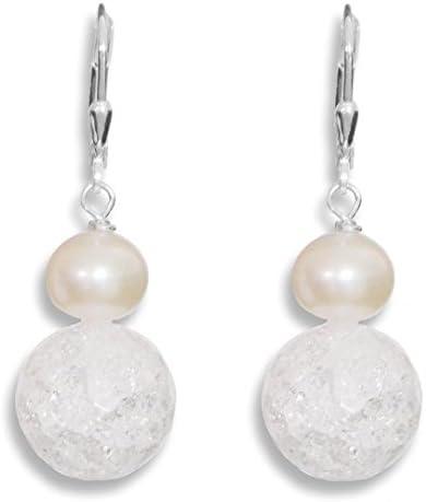 ERCE perla de agua dulce - cristal de roca piedras preciosas pendientes bolas tallados, plata de ley 925, longitud 4,2 cm, en estuche de regalo
