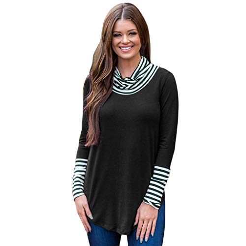 FEITONG Women O-Neck Stripe Long Sleeve Sweatshirt Pullover Tops Blouse ()