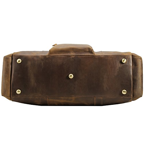 Texbo Men's Thick Cowhide Leather Vintage Big Travel Duffle Luggage Bag (Brown X Large 25'') by Texbo (Image #4)