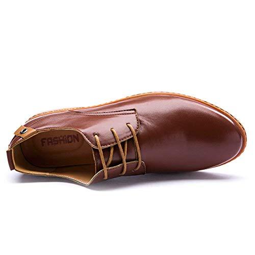 con Cuero Minetom Negocios Marrón Oxfords Planos de de Comodidad de de Vestir Cordones Estilo Zapatos Hombres Boda Británico ZIxnI0w