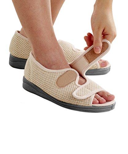 Womens Comfortable Indoor/Outdoor Sandals with Adjustable Fastener Straps - Natural 5