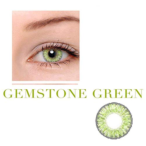 A Pair of Cute Colored Multicolor Eyes Lenses with Case-(US Stock)-Gemstone_Green -