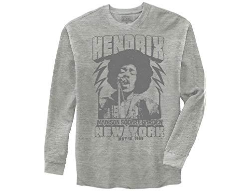 Ripple Junction Jimi Hendrix Adult Unisex Live at Madison Sq Garden Light Weight Crew Thermal Shirt MD Heather - T-shirt Jimi Ladies Hendrix