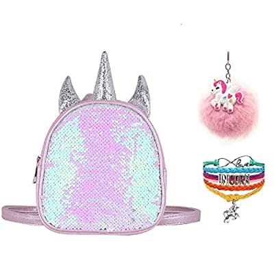 Fanovo Mermaid Sequin Unicorn Backpack Mini Satchel Daypack Travel Shoulder Bag Pink + Unicorn Keychain/Bracelet - 7 Inch | Kids' Backpacks