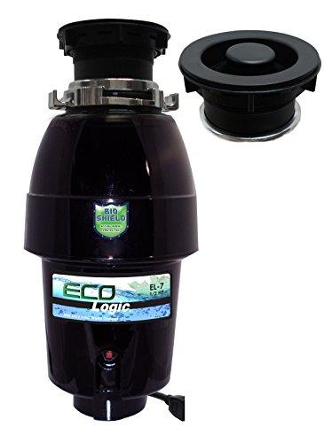 Black Disposer Flange (Eco Logic EL-7-DS-BK 7 Designer Series Food Waste Disposer with Black Sink Flange, 1/2 HP)