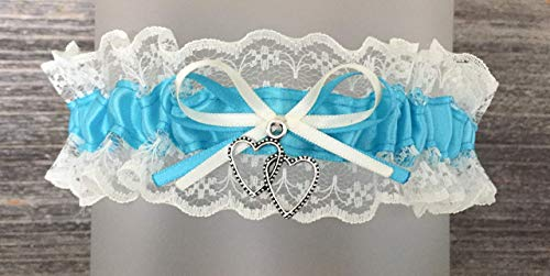 Sexy Ivory Lace Turquoise Blue Satin Wedding Bridal Keepsake Garter - Double Heart Charm