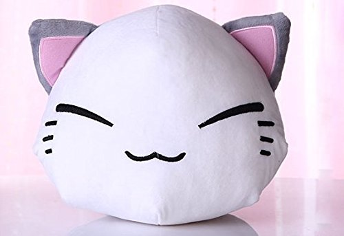 Stuffed Short Plush Shaped Sleepy Cat Cute Face Large Pillow Cushions Nap Doll Home Essential (White)