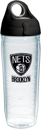 Tervis 1231044 NBA Brooklyn Nets Primary Logo Tumbler with Emblem and Black with Gray Lid 24oz Water Bottle, Clear by Tervis