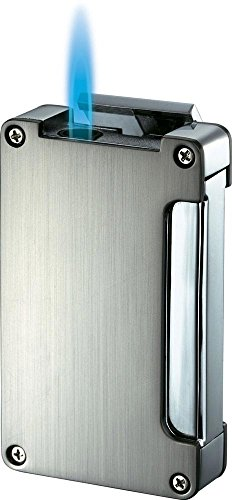 Visol Zidane Satin Nickel and Chrome Cigar Lighter with Built-in Cigar Punch from Visol