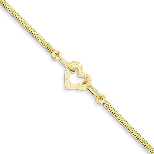 Diamond2Deal 14k Yellow Gold Fancy Franco with Diamond Cut Open Puff Heart Bracelet 12inch