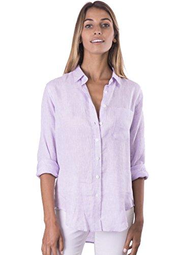 CAMIXA Women's Natural Cool Linen Button-Down Loose Shirt | Summer Winter Casual Chic XL - Cuff Linen French